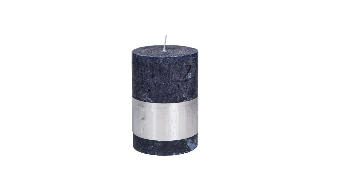 Rustic Hot Night Blue Pillar Candle 10x7 + background