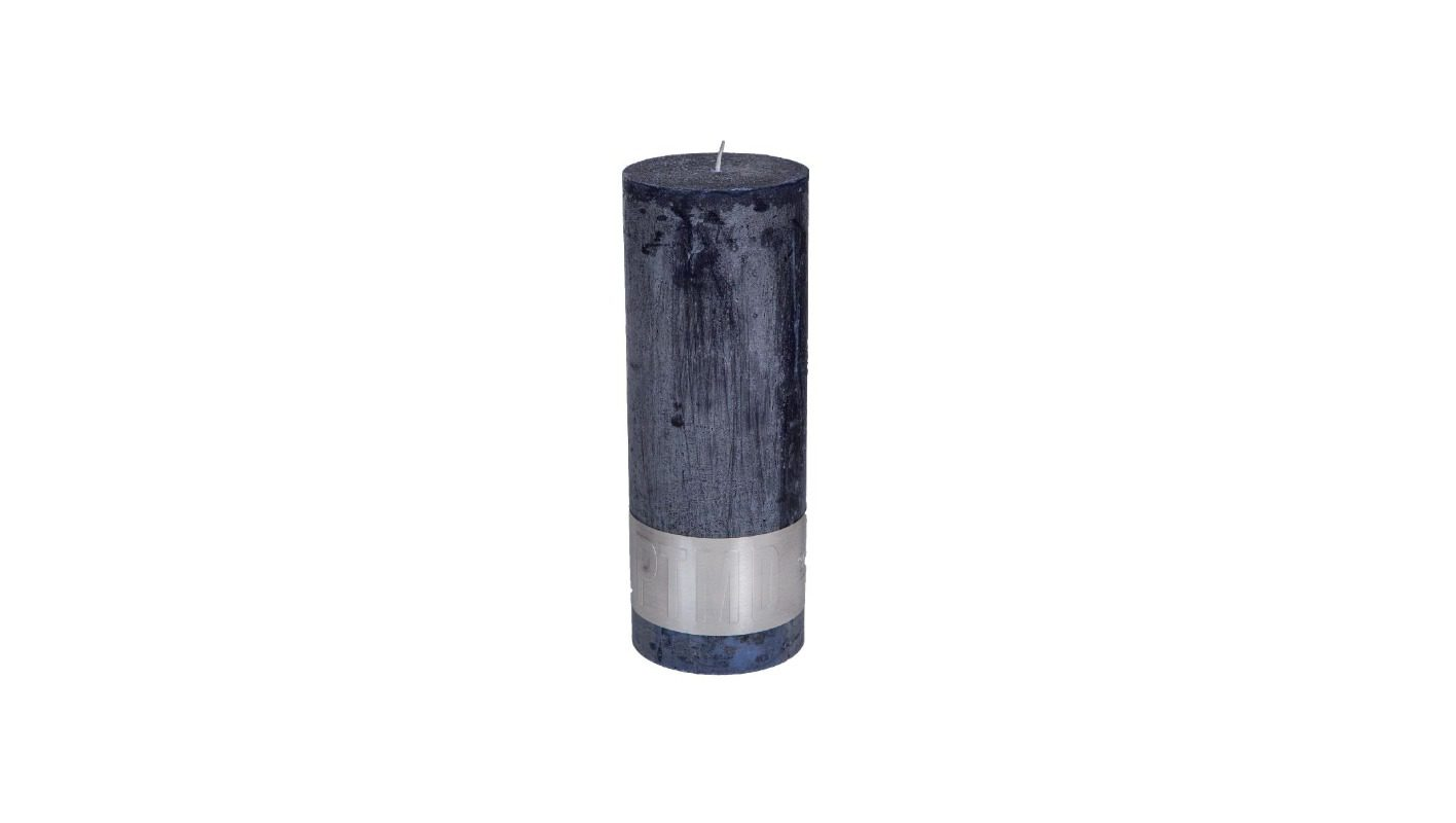 Rustic Night Blue Pillar Candle 18x7 + background