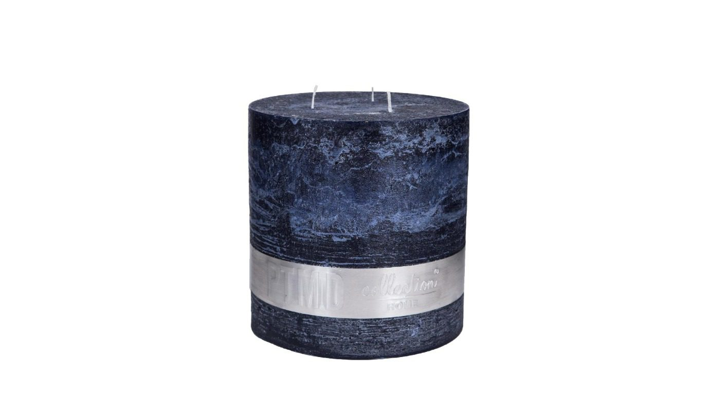Rustic Night Blue 3-Wick Candle 18x16 + background