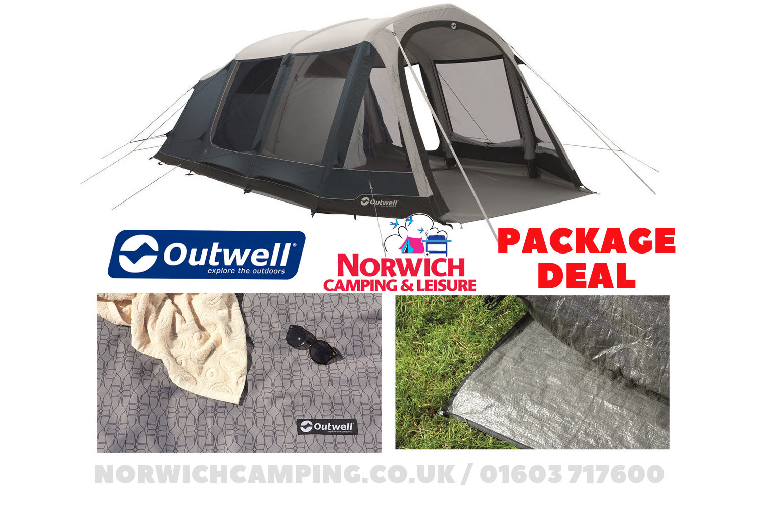 Outwell Stone Lake 5Atc Tent Package Deal