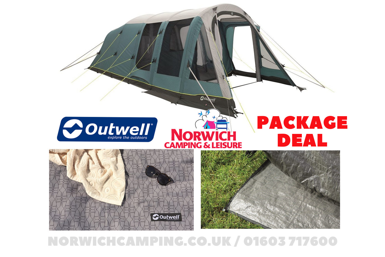 Outwell Knightdale 5Pa Tent Package Deal