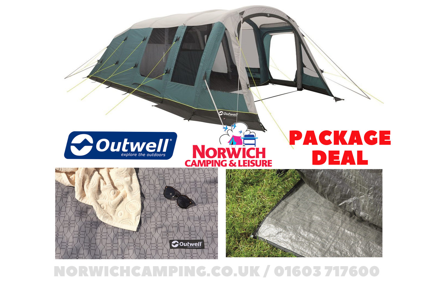 Outwell Knightdale 7Pa Tent Package Deal