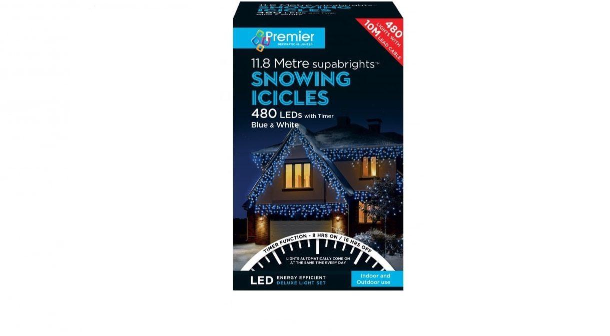 480 Led Icicle Blue White