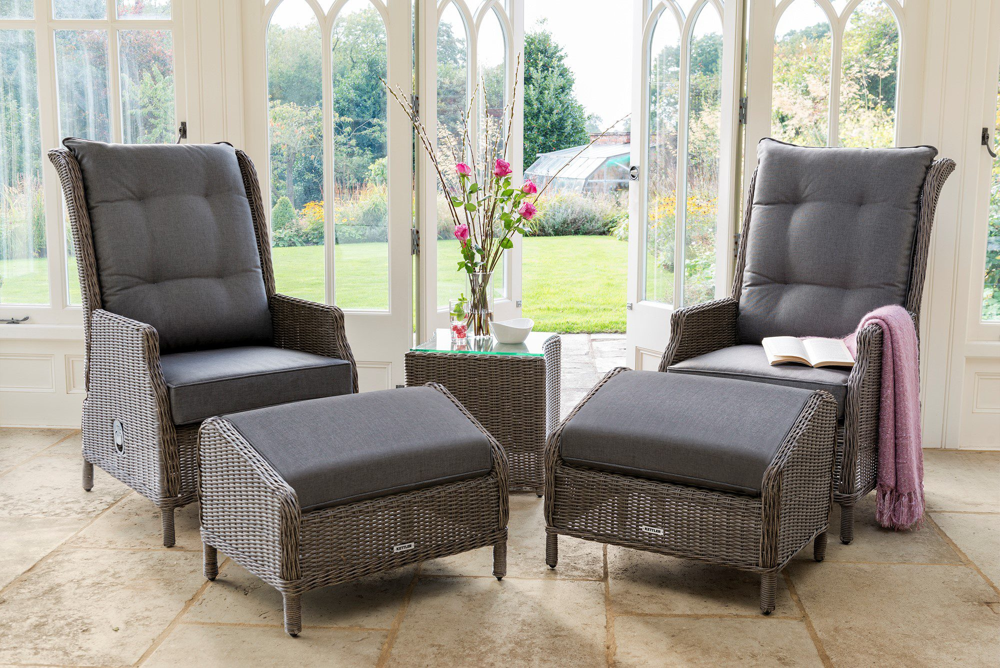 Kettler Classic Recliner Set Rattan Garden Furniture Norwich