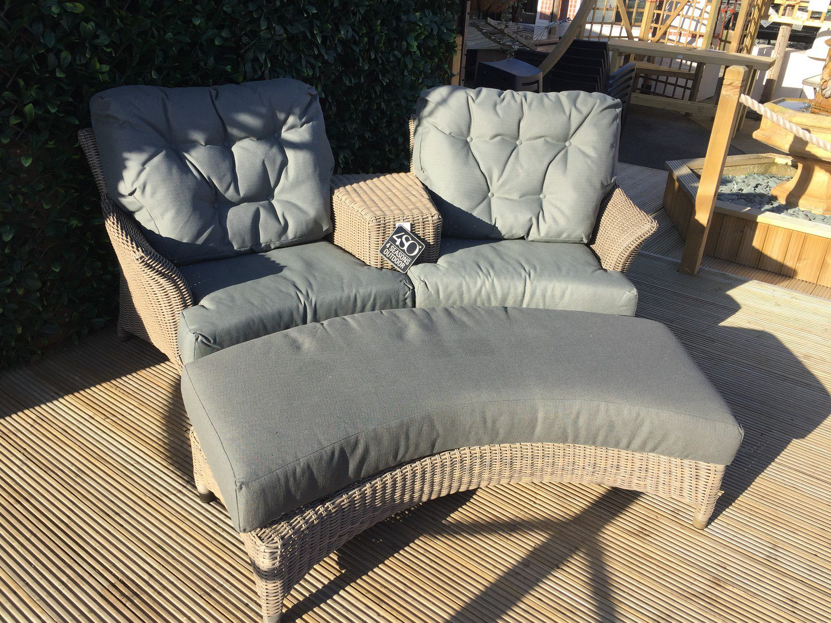4 Seasons Outdoor Valentine Love Seat With Footrest 15