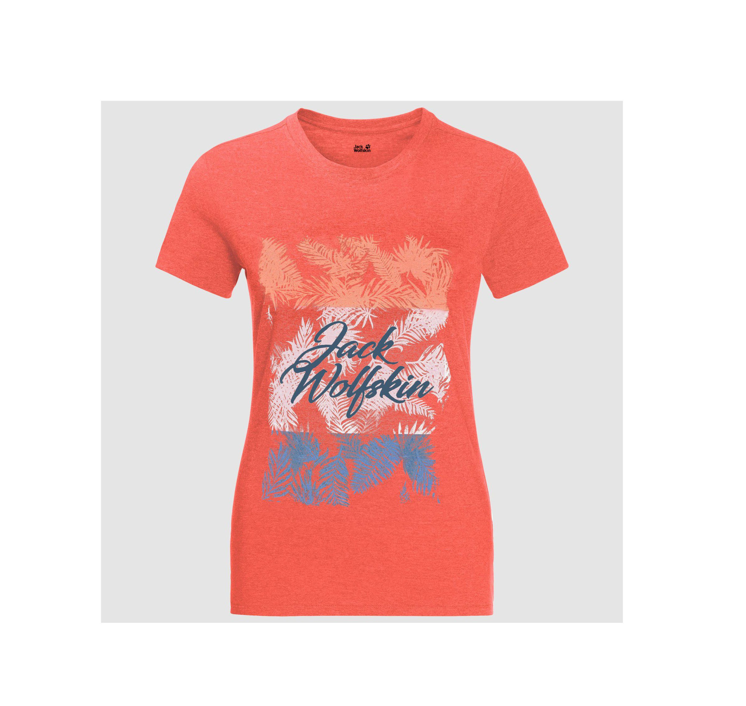 Jack Wolfskin Royal Palm Paw T-Shirt - hot coral