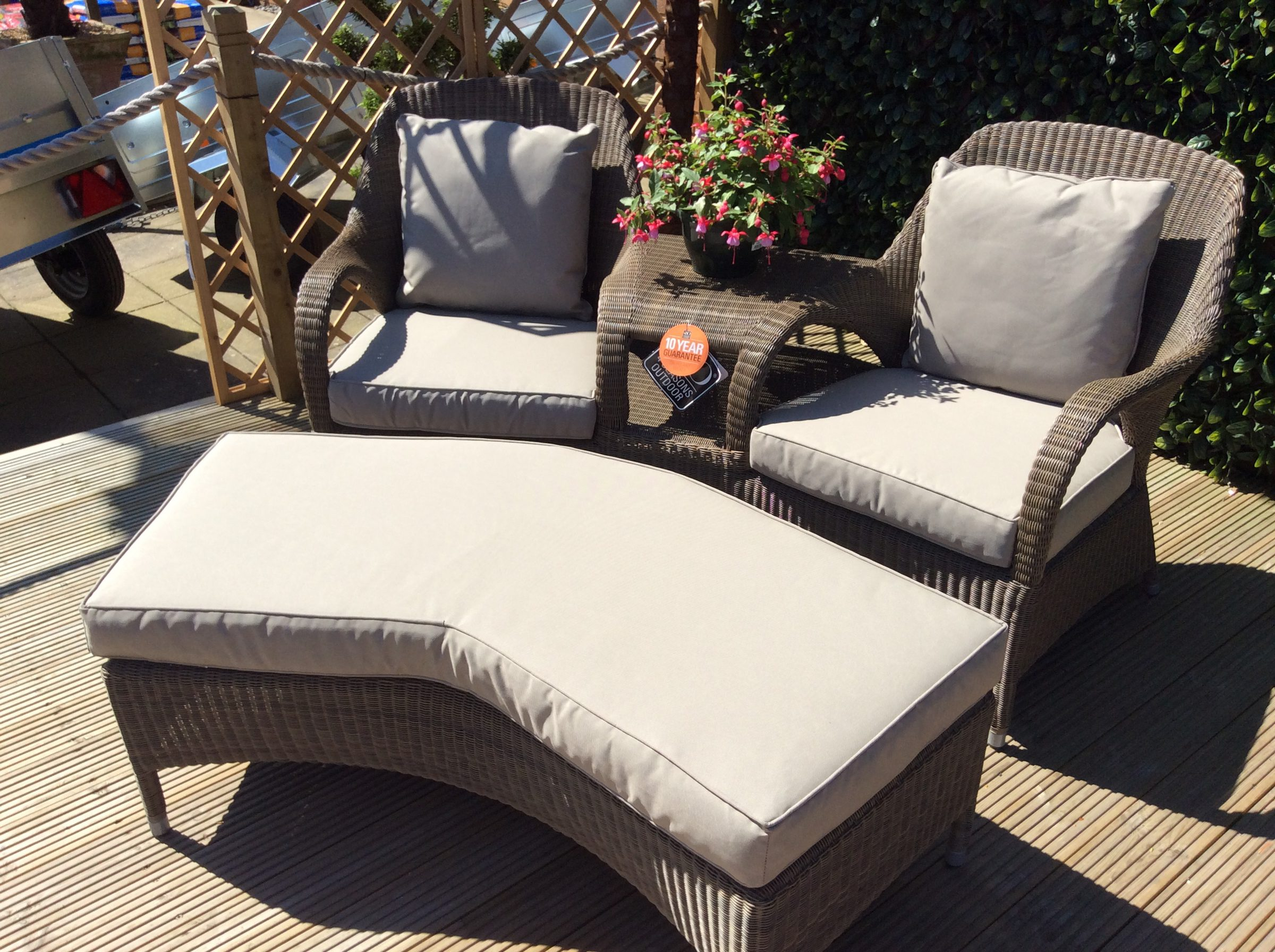 4 Seasons Outdoor Sussex Love Seat with Foot Stool