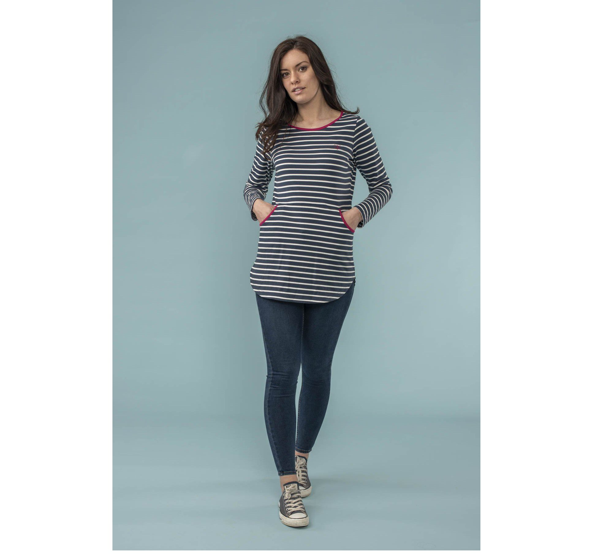 Lighthouse Coastline Tunic - Midnight Stripe