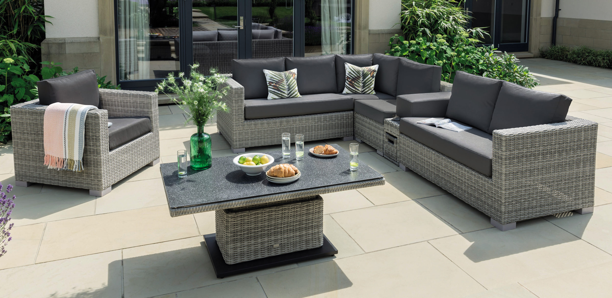 Life Aya Square Lounge Corner Set with Large Table and Lounge Chair