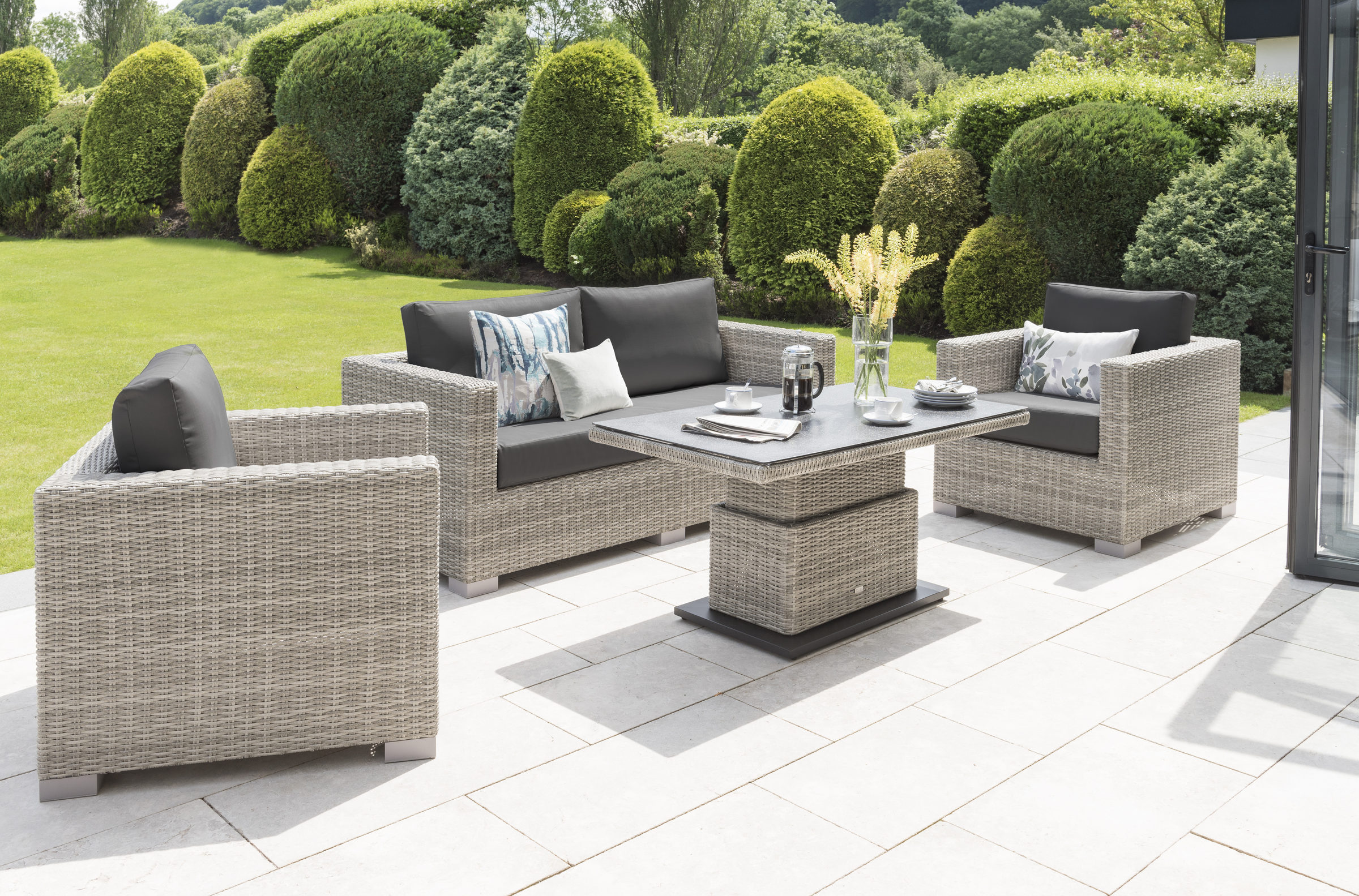 Life Outdoor Living Aya Lounge Set with Adjustable Table and Poof 2019