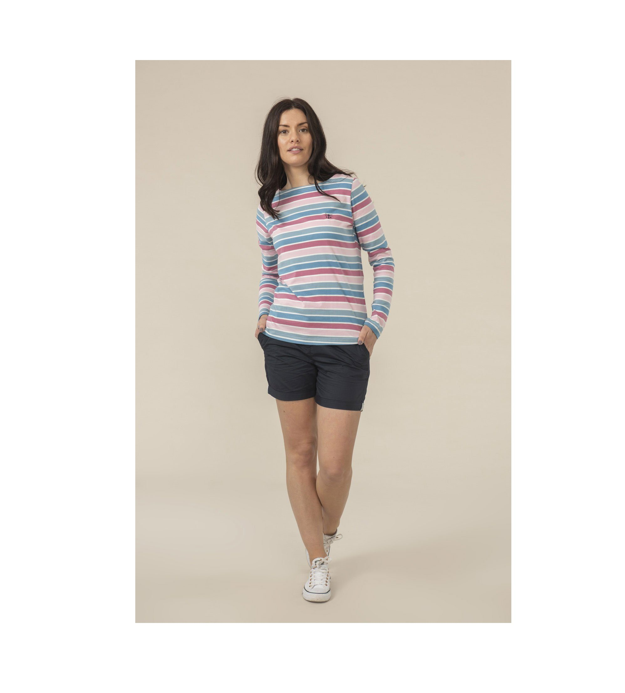 Causeway Top Pink Striped 1