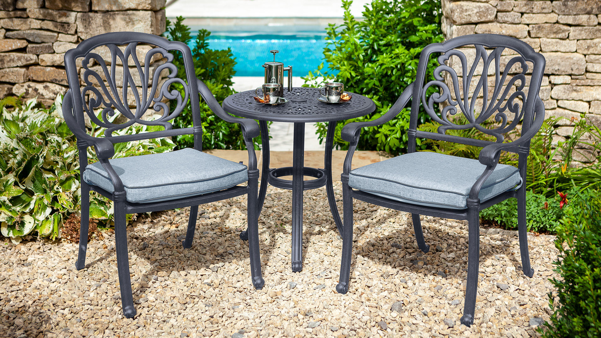 Hartman Amalfi Bistro Set - Antique Grey/Platinum