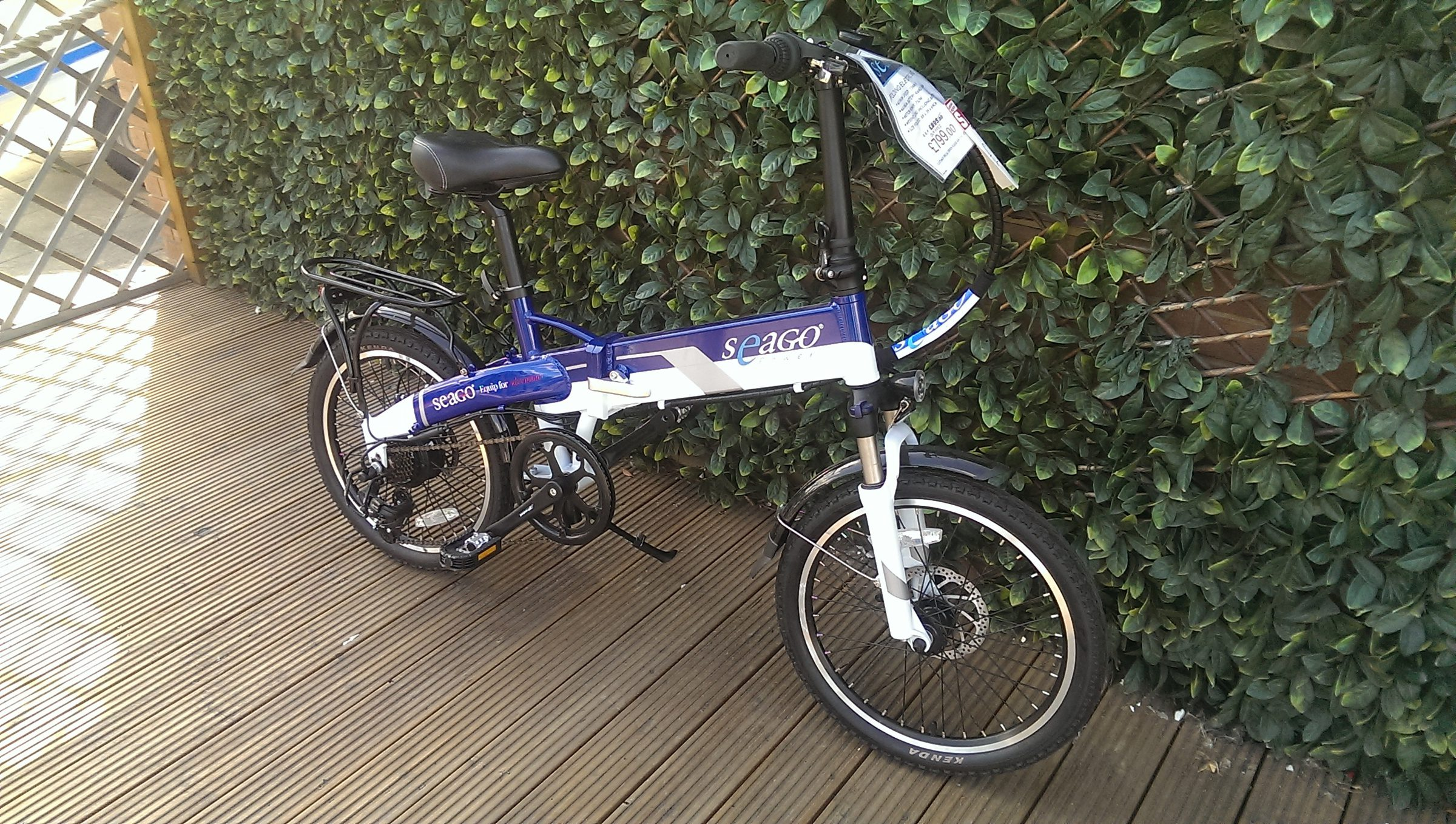 Seago Folding Electric Bike - Blue / White