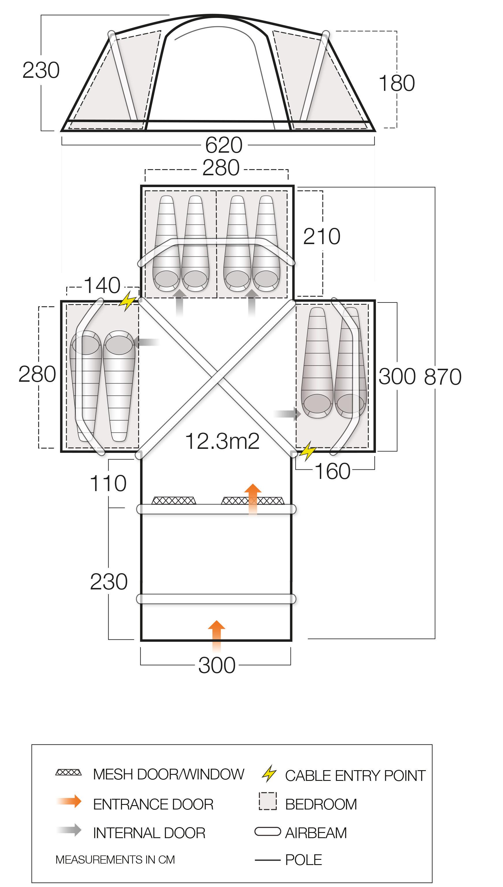 Vango Diablo 850Xl Airbeam Tent Floor Plan Norwich Camping7