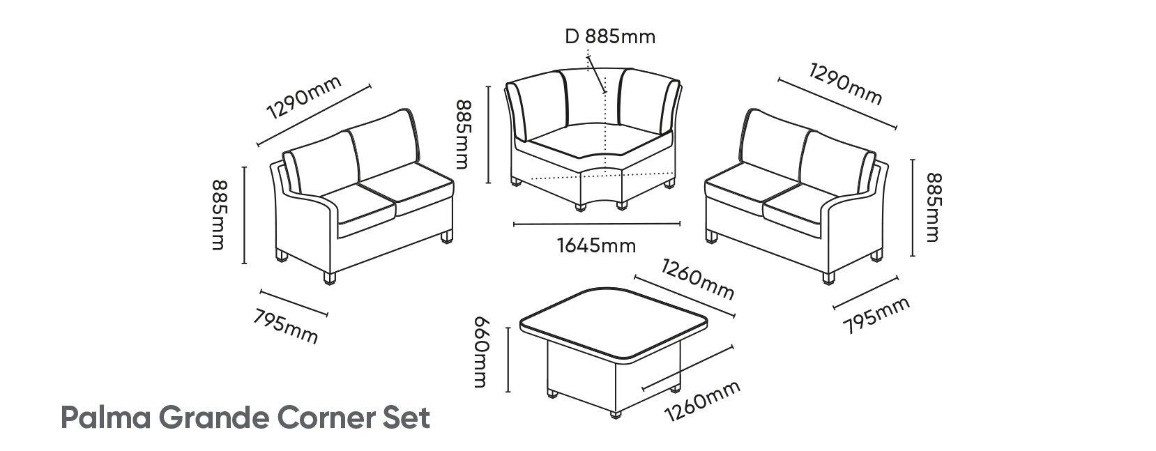 Palma Grande Corner Set Dimensions