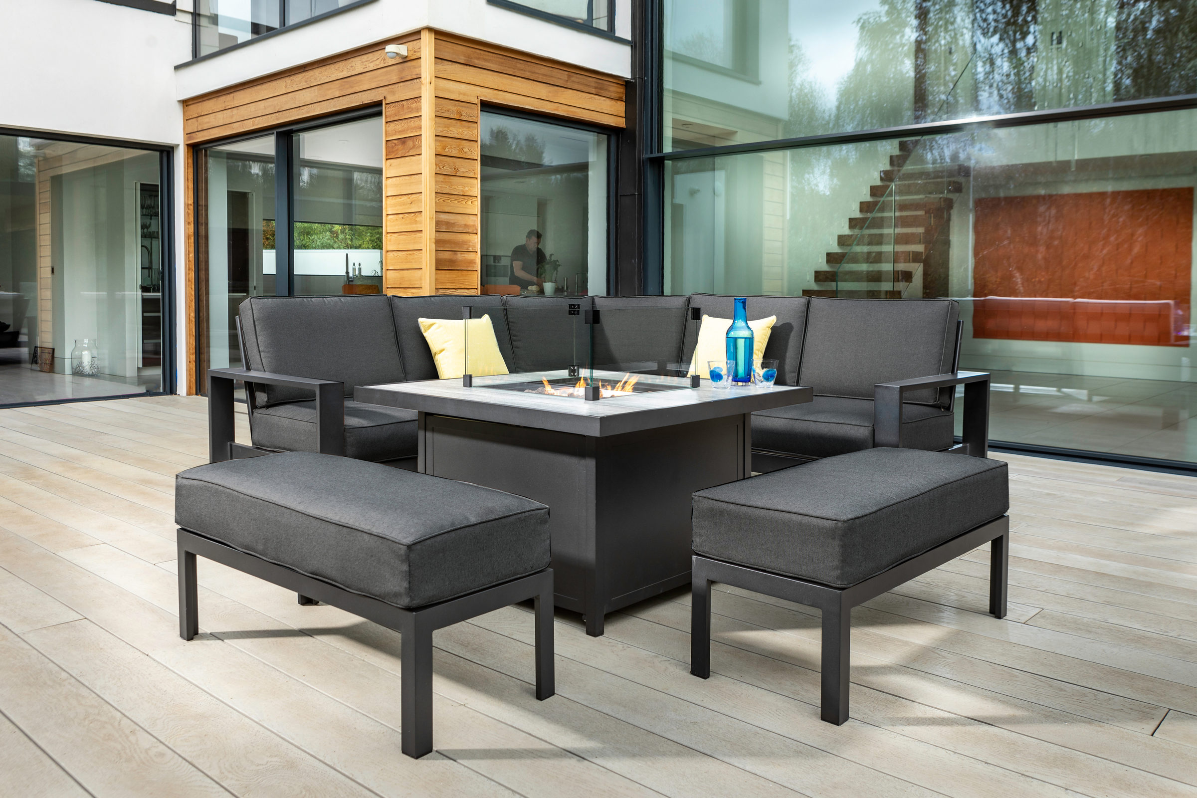 Titan Nebula Square Casual Dining Set With Gas Firepit 05