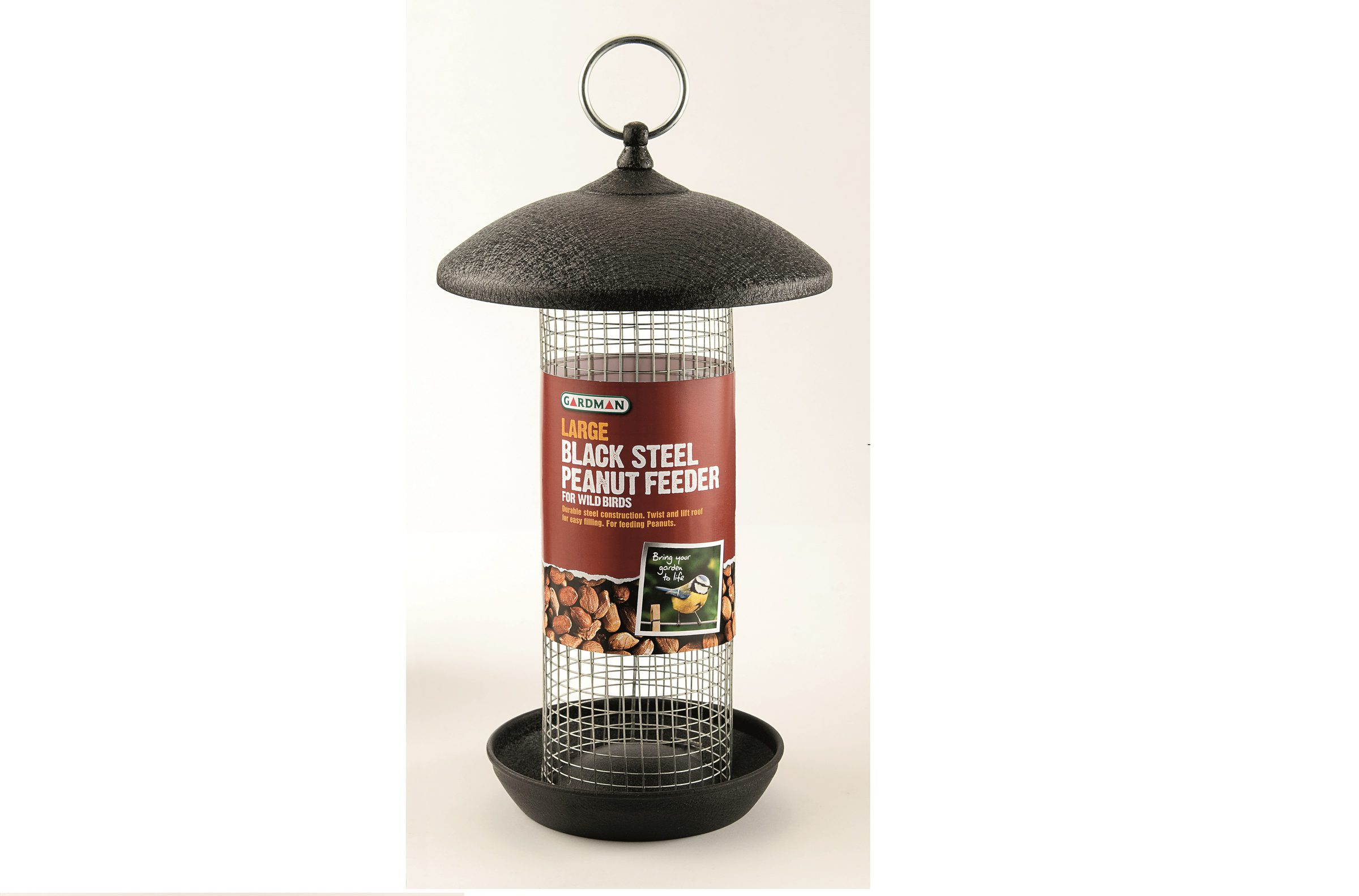 Large Black Steel Peanut Feeder